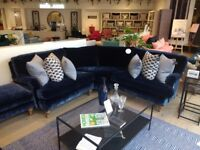 Small Corner Sofa: Ex-Display, Best-selling Bluebell by Sofa. com in Atlantic Roosevelt Velvet.