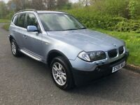 BMW X3 3.0 TDI SE AUTOMATIC 06 REG IN MIAMI BLUE, BLACK LEATHER, FULL SERVICE HISTORY,MOT MAY 2019