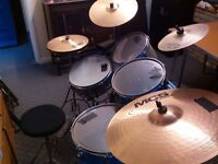 Drum kit, 5 drums, (including bass and snare), 4 cymbals (including hi-hat), stool & cow bell!!