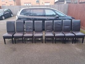 8 Black Faux Leather Chairs FREE DELIVERY 781