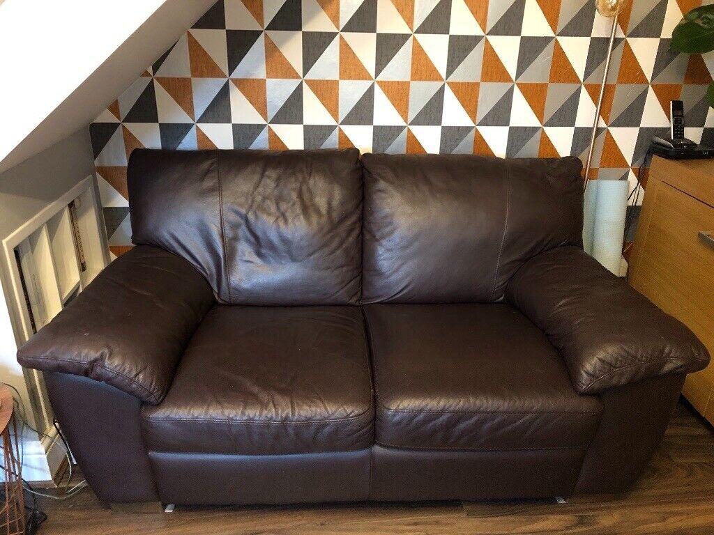 Ikea Two Seater Brown Leather Sofa In