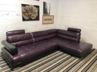 Amazing purple leather SOFAOLOGY corner sofa