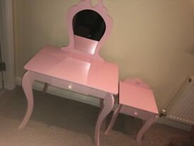 Pink dressing table and bedside cabinet