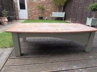 SOLID WOOD UPCYCLED COFFEE TABLE ,SAGE GREEN BASE,LIMED OAK TOP