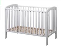 "White drop side cot. From John Lewis ""Anna"". Plus mattress."