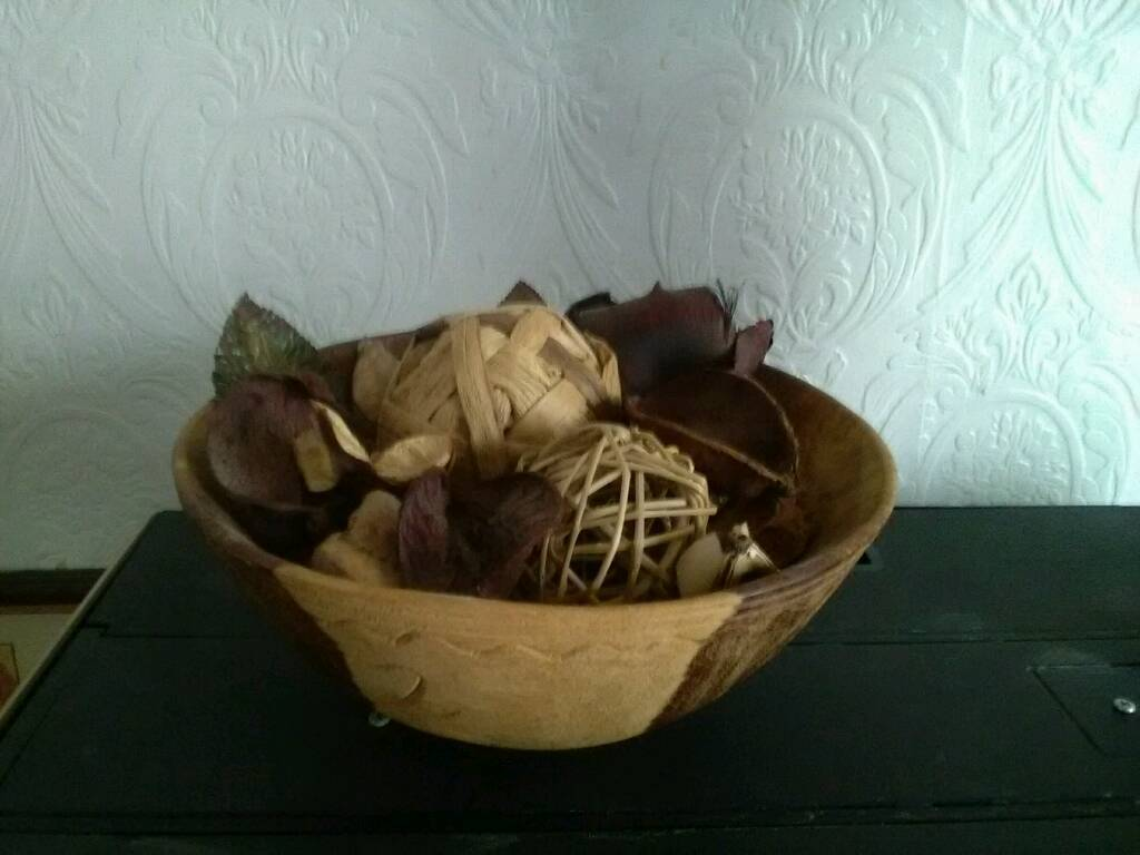 Beautiful wooden craft bowl with contents