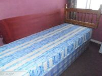 Single Divan Bed with mattress & wooden headboard