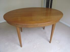 Teak, oval, extending dining table and 4 chairs