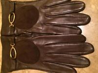 Loewe Brown Buckle Leather Gloves