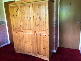 Pine Triple Wardrobe Plus Dressing Table Side Table And Bed In Exceptionally Good Condition