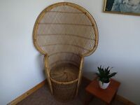 Large Vintage 1970's Rattan High Backed 'Peacock' Chair
