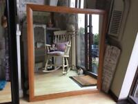 VERY LARGE SQUARE PINE MIRROR