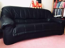 Black leather 3 seater Settee/Couch