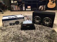 Alpine car stereo, amp and speaker set