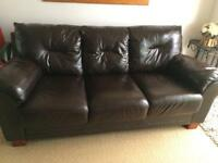 2 and 3 Seater Brown Leather Sofas Suite Living Room Front Room