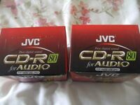 2 BOXES OF JVC RECORDABLE CDS WITH CASES ( BRAND NEW )