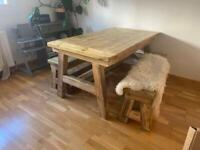 Solid Chunky Handmade Reclaimed Wooden Dining Table and x2 Benches