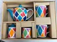 Whittards tea set - unused. 2x mugs, tea pot, sugar, creamer & tray