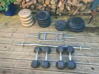 Assorted Loose weights and Bench