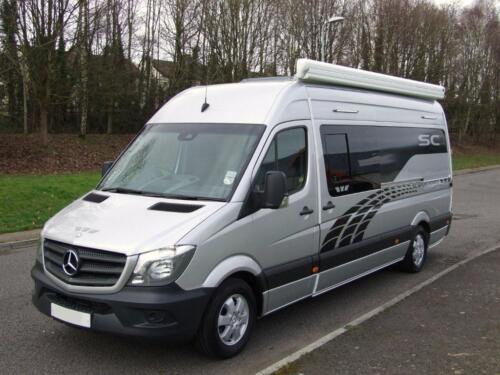 Silver mercedes sprinter 313 racevan campervan motorhome for Motorhome with large garage