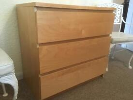 3-drawer beech wood chest of drawers