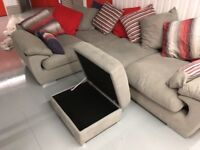 Grey L-shaped corner sofa-excellent condition