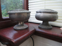 Pair Two Matching Vintage Style Round Pewter Type Metal Vases 4.5 Inches High 6 inches Diameter