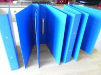 set/5 high quality blue A4 ringbinders heavy duty poly not cardboard