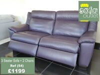 Designer Purple leather 3 seater sofa + 2 chairs ( 54) £1199