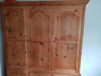Solid Pine Wardrobe 3 door, 6 draw. All solid pine inside and out