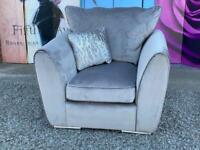 New Grey Velvet Armchair with Side Cushion