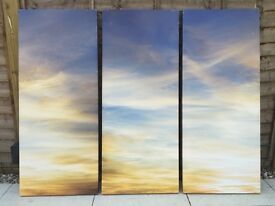"""Large 3 Screen 'Triptych' of """"Sky at Sunset"""" by Nic Miller"""
