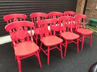 8 classic wooden chairs painted red