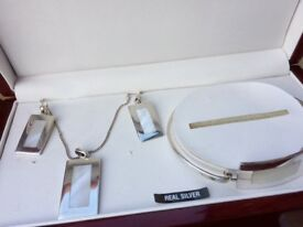 Silver jewellery set, earrings, necklace and bracelet