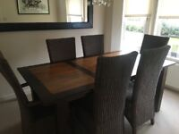 Dinning table and six chairs and large mirror Ono £350