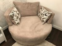 Two seater sofa and swivel chair