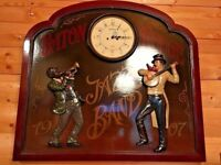 Wooden wall plaque picture artwork + clock. French Paris antique pub theme. Jazz band Vintage 1907