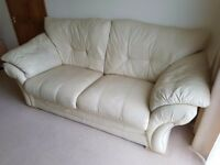 3 Seater Leather Sofa and Reclining Arm Chair - Cream