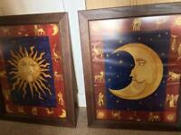 Sun ☀️ and 🌙 moon framed pictures