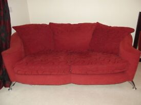Red 3 seater sofa and armchair