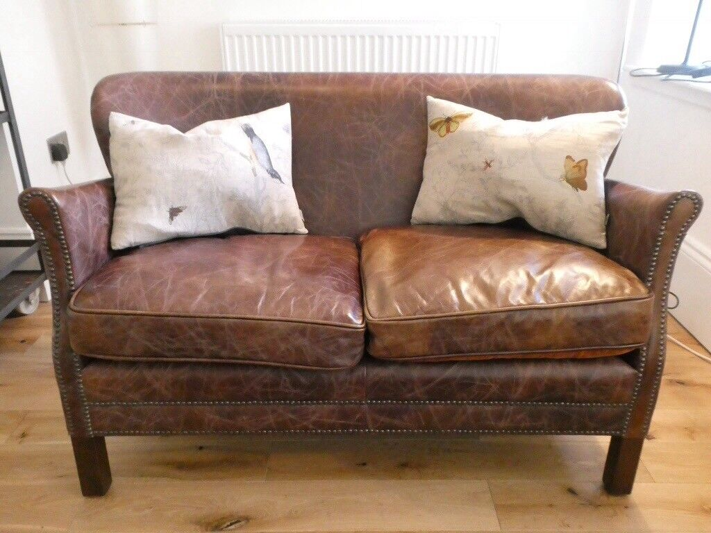 Brown Leather Halo Little Professor Sofa Perfect Condition