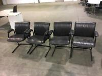 4 leather faux meeting room chairs