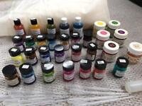Silk painting iron-fix paints, clear outliner, organza x3m, loads of silk fabric ***BARGAIN!!***