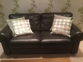 Brown leather 3 pce suite - Sofa & 2 chairs