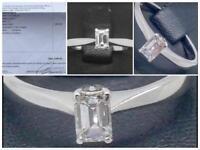 Beautiful Emerald Cut Diamond Ring - £1495 Valuation Inc