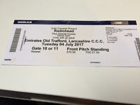 RADIOHEAD- Emirates Old Trafford Tuesday 4th JULY Tickets Front Pitch Standing