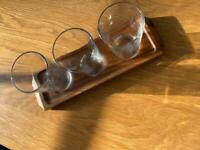 Acacia wood wine/beer flight with three 1/3 pint glasses