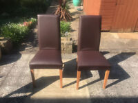 2 Dining Room chairs, brown vinyl