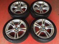 18'' GENUINE BMW 3 SERIES F30 M SPORT F31 F32 ALLOY WHEELS TYRES E90 E46 TRAFIC 5X120