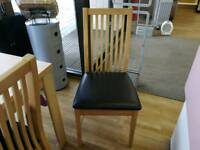 Paris wooden chair brown leather seat
